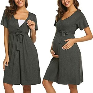 Stillnachthemd Kurzarm Nachtkleid Schwangere Umstands mit Stillfunktion Knopfleiste