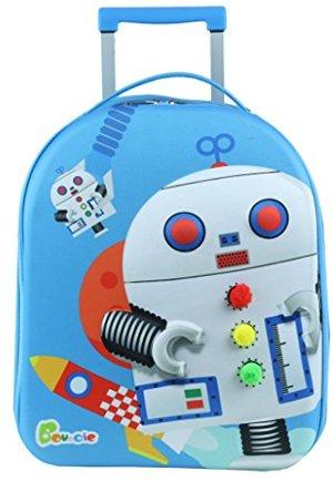 Bouncie mit 3D-Roboter-Motiv Reise-Trolley Kindergepäck