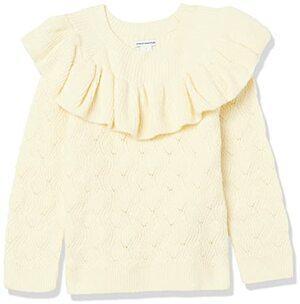 Essentials Girls Soft Touch Ruffle Sweater Pullover Elfenbein