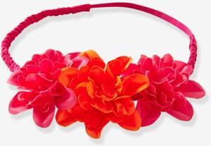 Festliches Haarband Blumen Fuchsia Koralle von