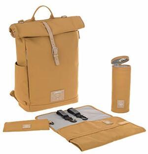 Wickelrucksack mit Wickelunterlage Kinderwagenbefestigung Flaschenwärmer Wasserabweisend Nachhaltig Produziert Rolltop Backpack Curry