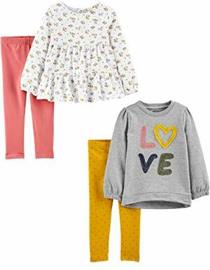 Joys Carter 4-Piece Long-Sleeve Shirts and Playwear Pants-Clothing-Sets Floral Love Months 4er-Pack