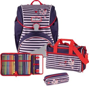 Schulranzen Alpha Happy Stripes Set
