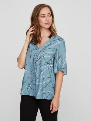 Gemusterte Still-Bluse mit Kurzen Ärmeln