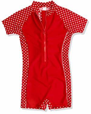 Bademode Einteiler Badeanzug Punkte mit UV-Schutz Rot