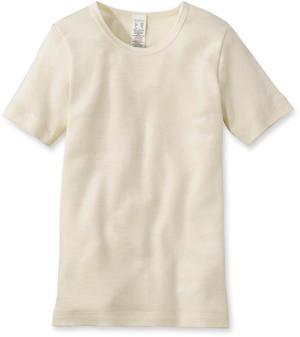 Kinder Halbarm-Hemd aus Bio-Merinowolle mit Seide Naturfarben