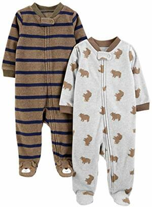 Joys Carter 2er-Pack Fleece mit Füßen Schlafen Spielen Bear Stripes Preemie