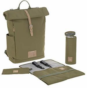 Wickelrucksack mit Wickelunterlage Kinderwagenbefestigung Flaschenwärmer Wasserabweisend Nachhaltig Produziert Rolltop Backpack