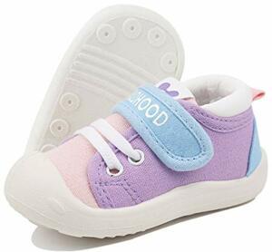 Lauflernschuhe Babyschuhe Weiche Sohle Rutschfeste Segeltuch Turnschuhe Purpur Etikettengröße