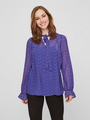 Gepunktete Still-Bluse mit Langen Ärmeln