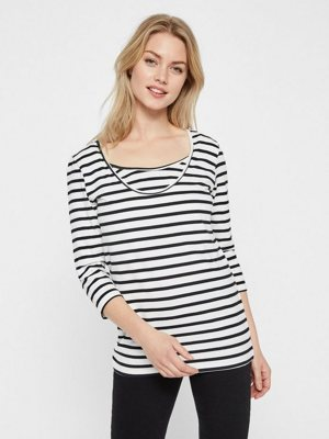 Jersey- Still-Bluse mit Rmeln