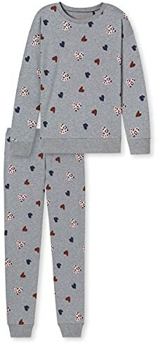 Teens Schlafanzug lang Leoprint Herzen Sterne Funprints Organic Cotton Pyjamaset