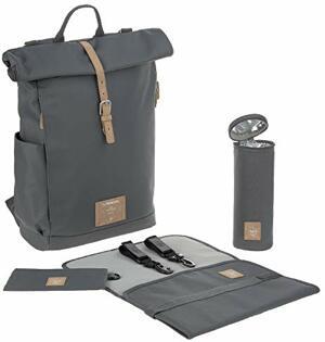 Wickelrucksack mit Wickelunterlage Kinderwagenbefestigung Flaschenwärmer Wasserabweisend Nachhaltig Produziert Rolltop Backpack Anthracite