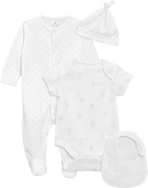 4er Set Schlafanzug Kurzarmbody Lätzchen Mütze