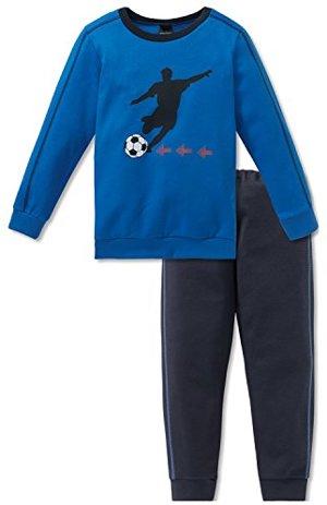 Zweiteiliger Schlafanzug Fußball Lang Blau