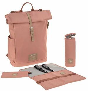 Wickelrucksack mit Wickelunterlage Kinderwagenbefestigung Flaschenwärmer Wasserabweisend Nachhaltig Produziert Rolltop Backpack Cinnamon
