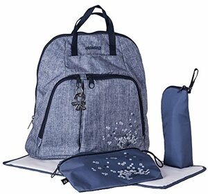 TREK Eleganter Wickelrucksack mit Gepolstertem Rücken Weichen Tragegurten Kinderwagenhaken Wickelunterlage Flaschenhalter Zubehörbeutel Urban Jeans
